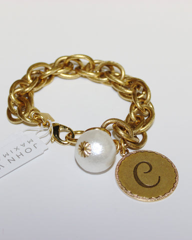 "John Wind: Sorority Gal and Pearl ""C"" Initial Gold Bracelet"