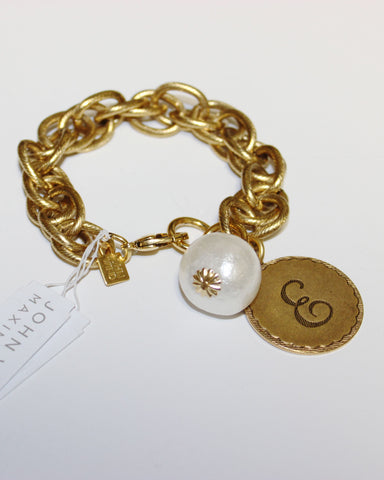 "John Wind: Sorority Gal and Pearl ""E"" Initial Gold Bracelet"