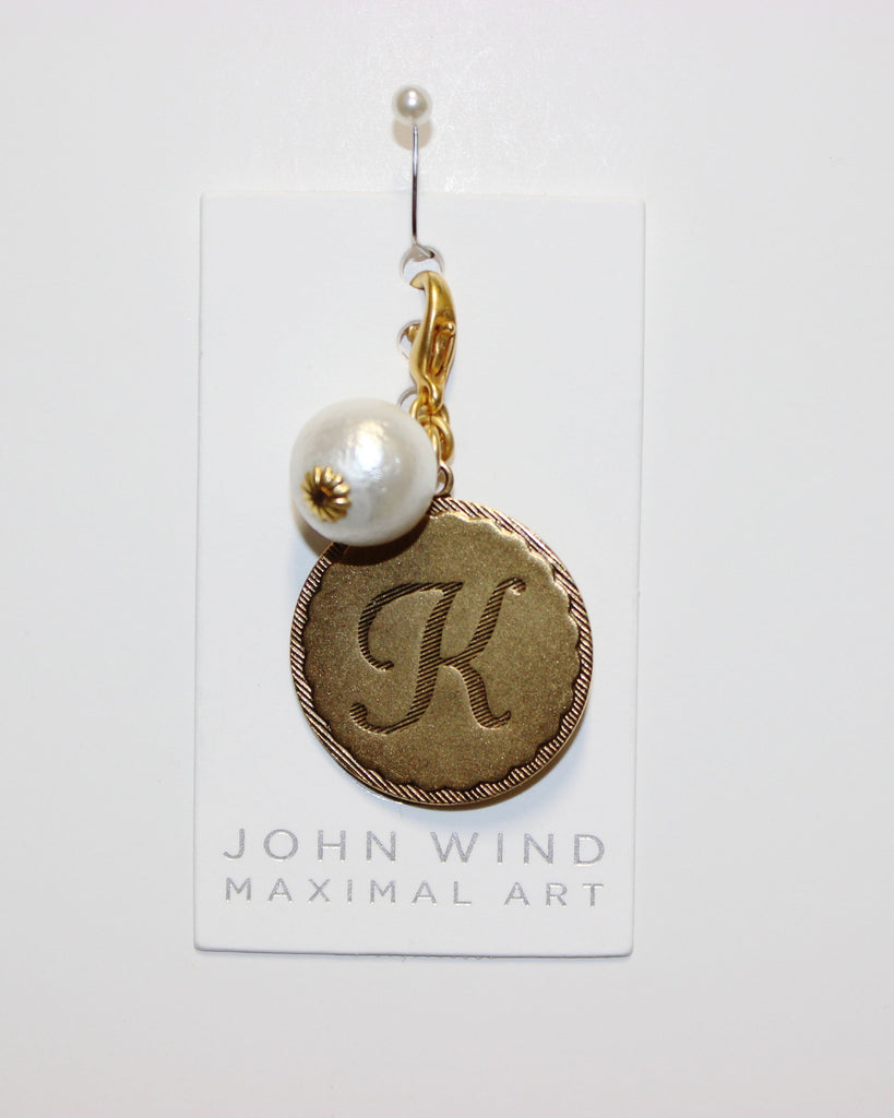"John Wind: Sorority Gal and Pearl ""K"" Initial Gold Charm"