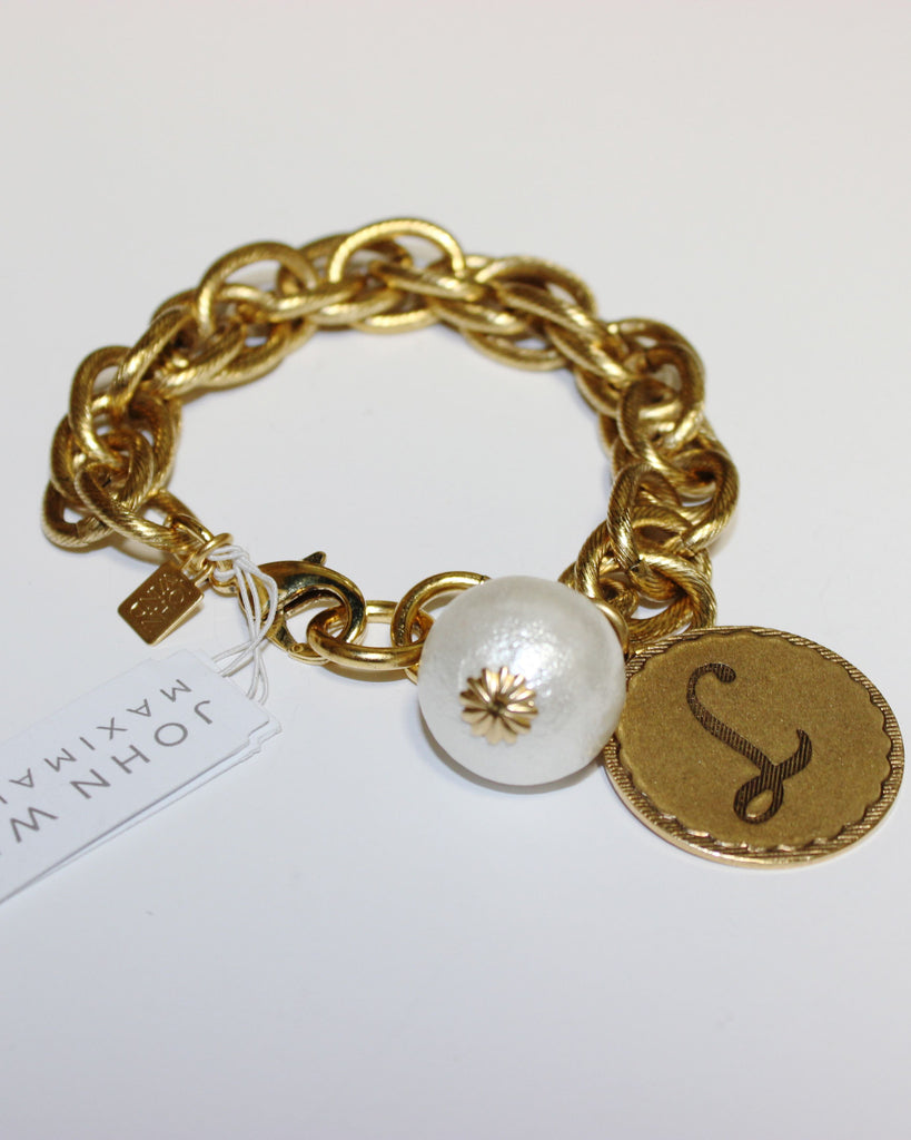 "John Wind: Sorority Gal and Pearl ""L"" Initial Gold Bracelet"