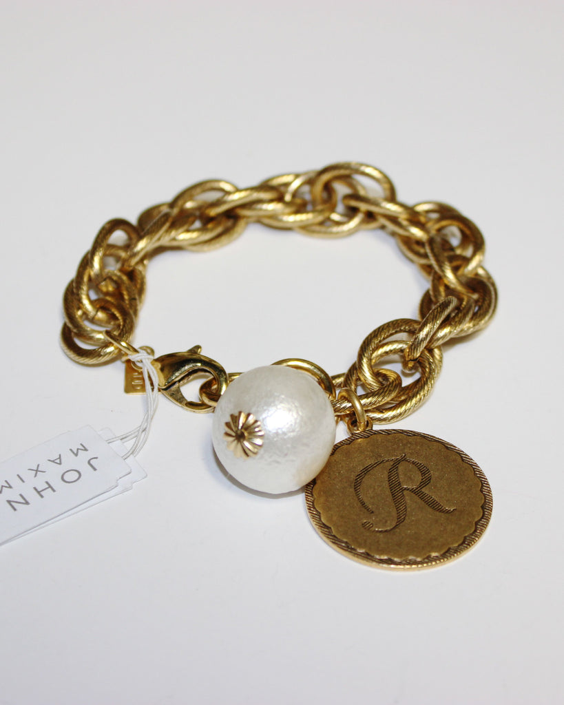 "John Wind: Sorority Gal and Pearl ""R"" Initial Gold Bracelet"