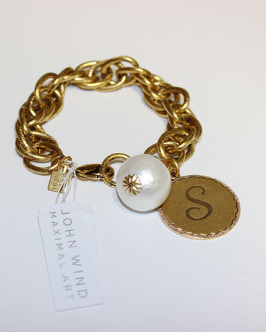 "John Wind: Sorority Gal and Pearl ""S"" Initial Gold Bracelet"