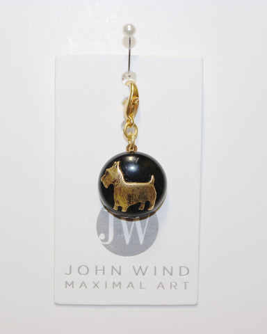 John Wind Charm: Scotty Dog! Jet Black Mini Critter!