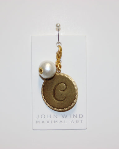 "John Wind: Sorority Gal and Pearl ""C"" Initial Gold Charm"