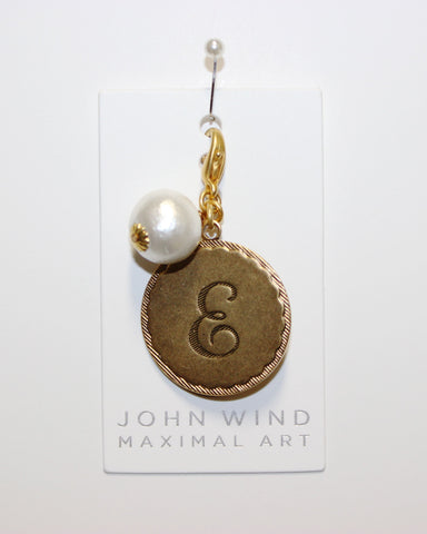 "John Wind: Sorority Gal and Pearl ""E"" Initial Gold Charm"