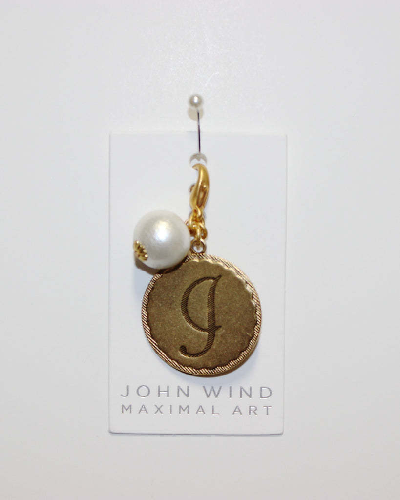 "John Wind: Sorority Gal and Pearl ""J"" Initial Gold Charm"