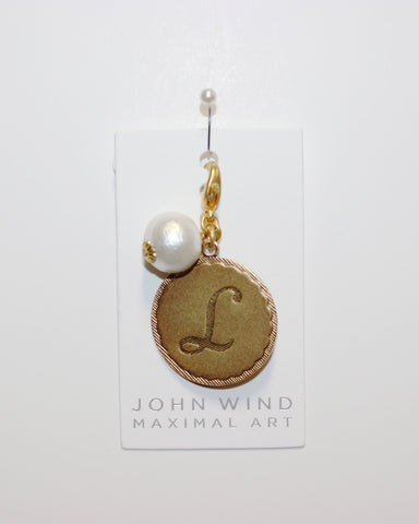 "John Wind: Sorority Gal and Pearl ""L"" Initial Gold Charm"