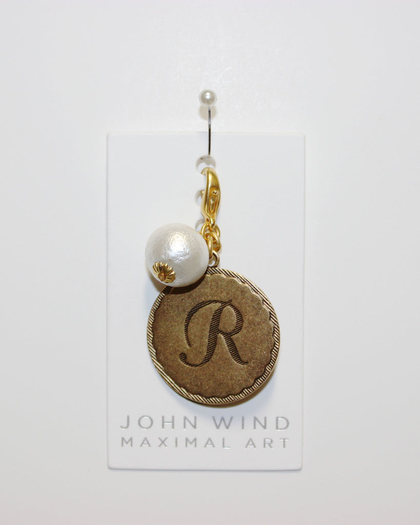 "John Wind: Sorority Gal and Pearl ""R"" Initial Gold Charm"