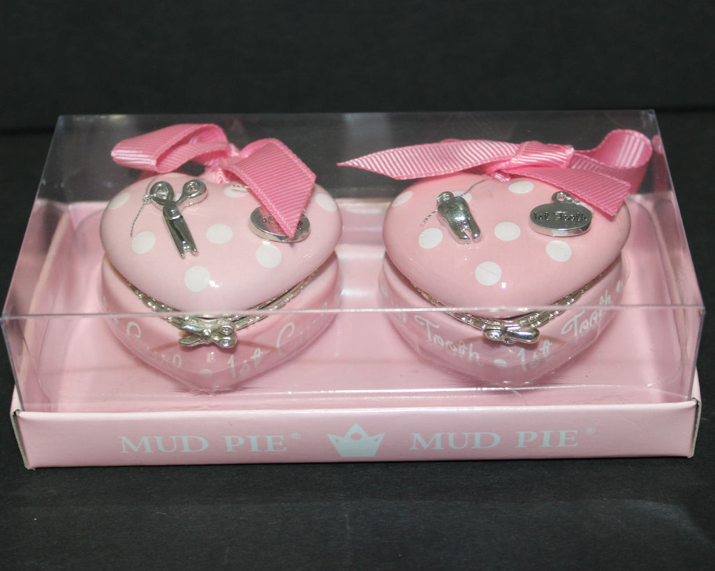 Mud Pie Princess Heart Shaped Tooth and Curl Keepsake Box