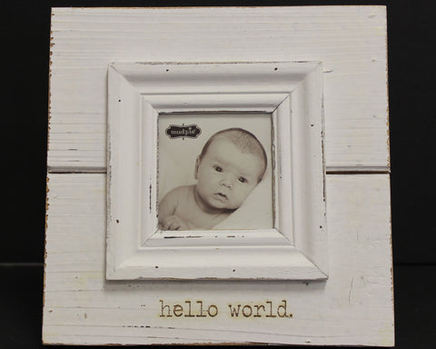 Mud Pie Hello World Picture Frame In White