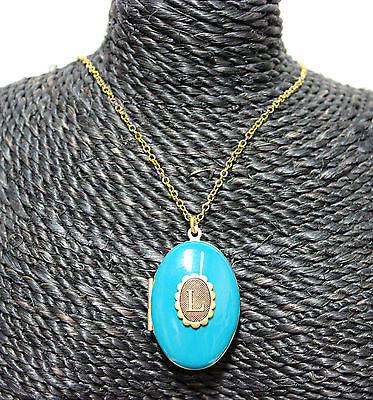 John Wind, Modern Prep, Blue Enameled L Initial Locket