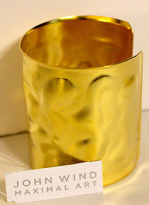 John Wind Maximal Art! Gold Hammered Cuff!