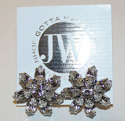 John Wind Maximal Art Rhinestone Flower Earrings!!
