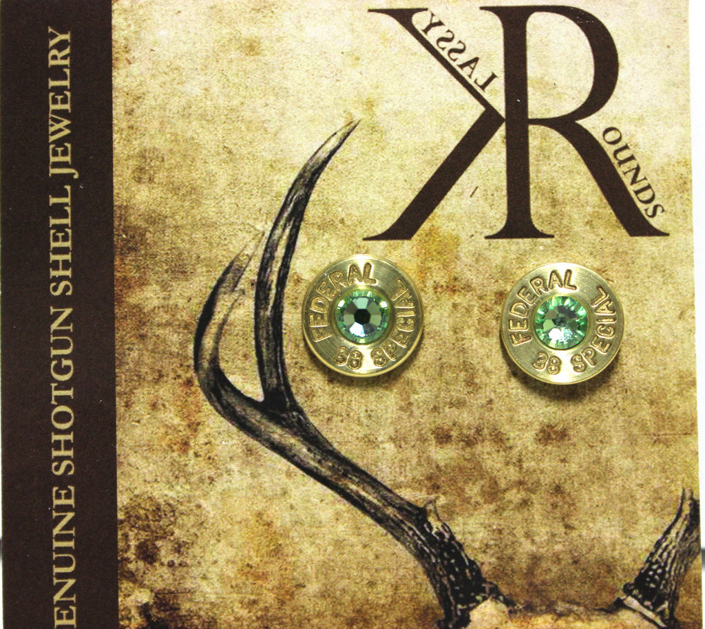 Klassy Rounds! Peridot Rhinestone Bullet Earrings!