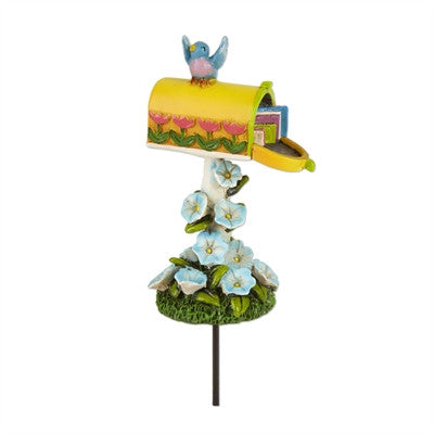 Fairies: Mini Yellow Mailbox w/Flowers
