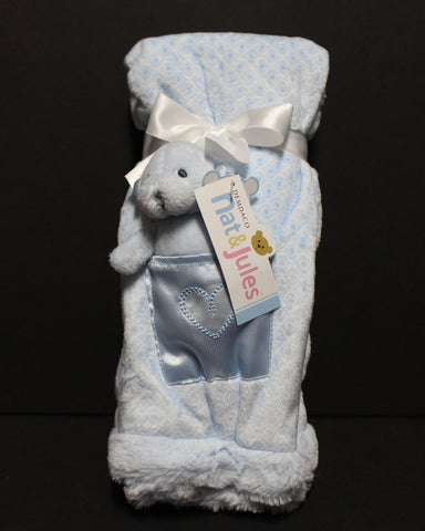 Nat & Jules Bear Blue Blanket with Rattle