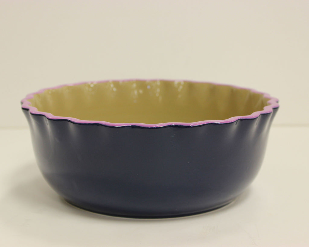 Coton Colors: Color Block Navy Ruffle Serving Bowl