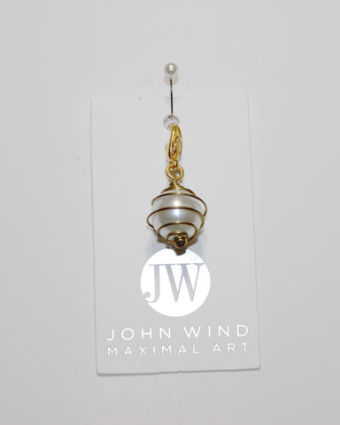 John Wind Charm! Round Pearl Encircled in Gold Wire!