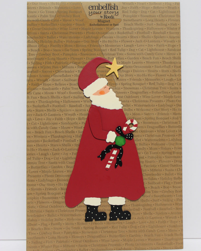 Santa with Candy Cane Decorative Magnetic Wall Art!