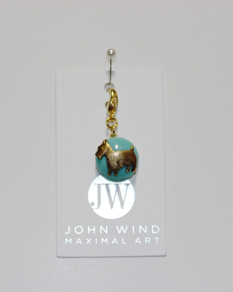 John Wind Charm: Scotty Dog! Aqua Mini Critter!