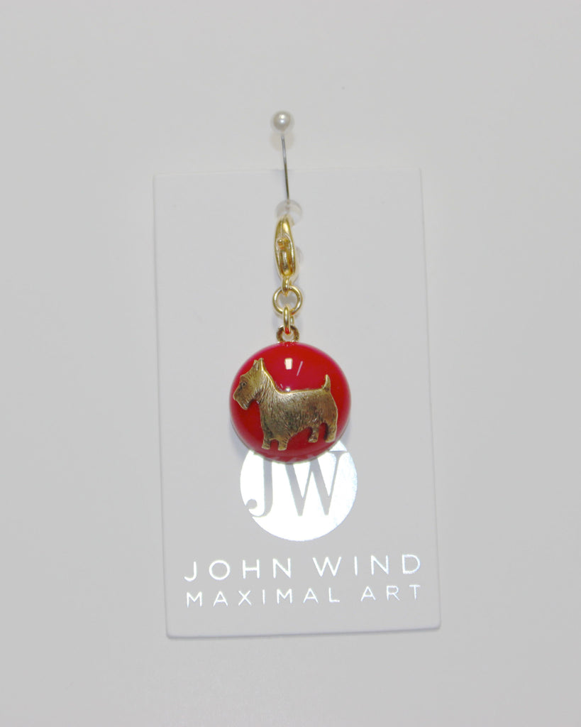 John Wind Charm: Scotty Dog, Red Mini Critters!