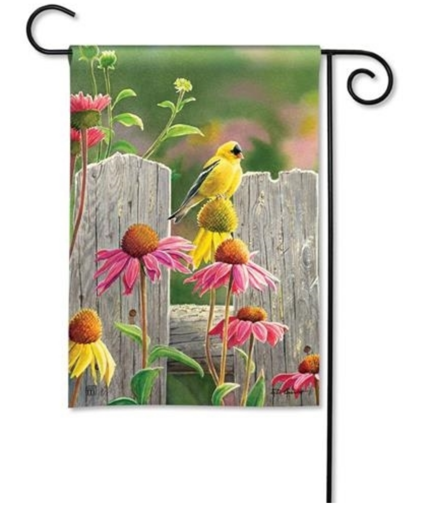Garden Flag: Goldfinches & Coneflowers
