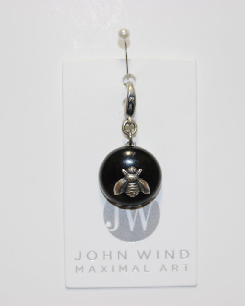 John Wind Charm: Bee Silver, Jet Black Mini Critter!