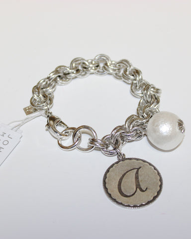 "John Wind: Sorority Gal and Pearl ""a"" Initial Silver Bracelet"