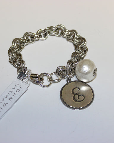 "John Wind: Sorority Gal and Pearl ""E"" Initial Silver Bracelet"