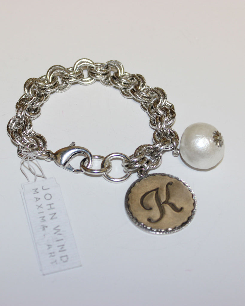 "John Wind: Sorority Gal and Pearl ""K"" Initial Silver Bracelet"