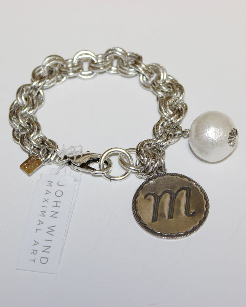 "John Wind: Sorority Gal and Pearl ""m"" Initial Silver Bracelet"