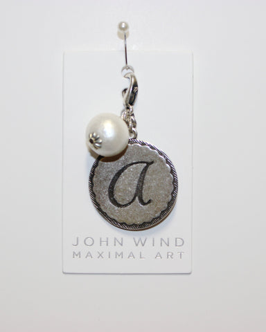 "John Wind: Sorority Gal and Pearl ""a"" Initial Silver Charm"