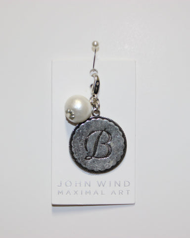 "John Wind: Sorority Gal and Pearl ""B"" Initial Silver Charm"
