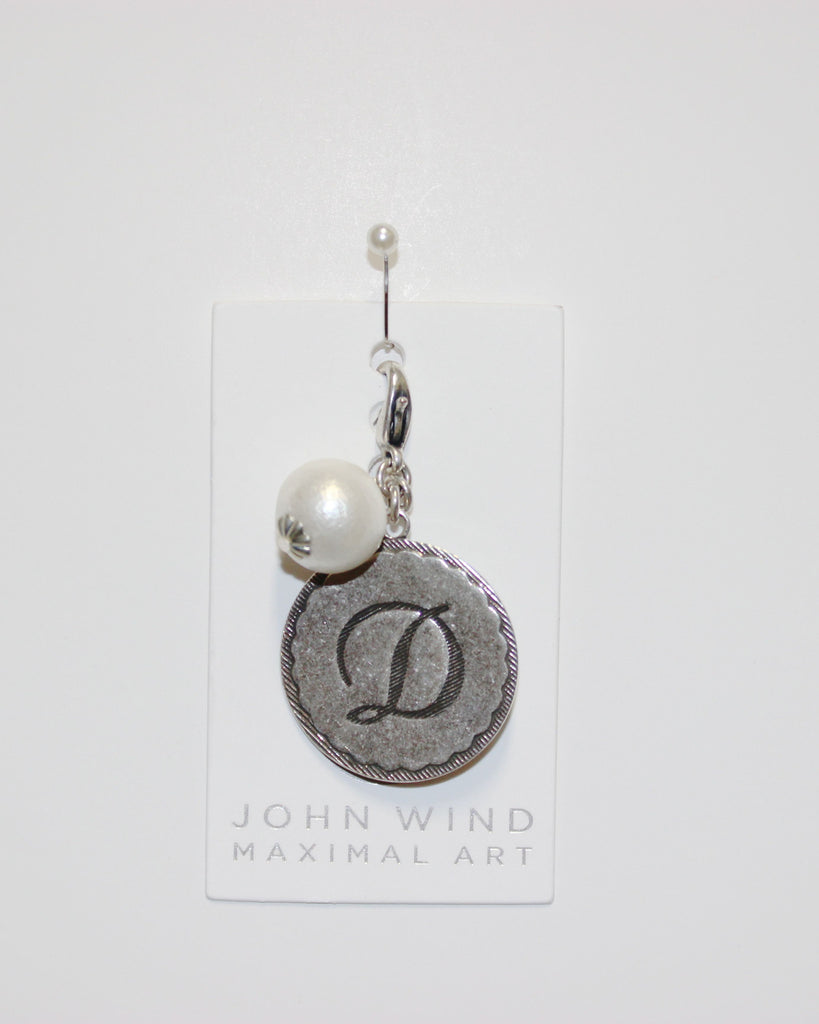 "John Wind: Sorority Gal and Pearl ""D"" Initial Silver Charm"