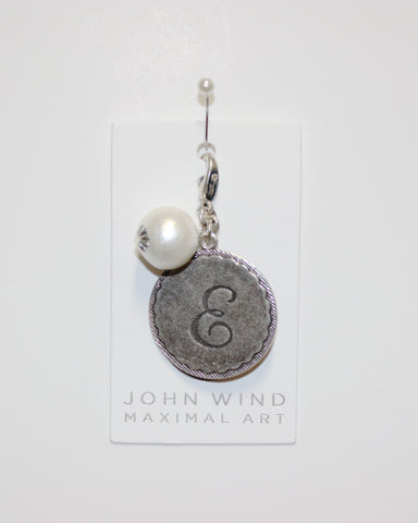 "John Wind: Sorority Gal and Pearl ""E"" Initial Silver Charm"