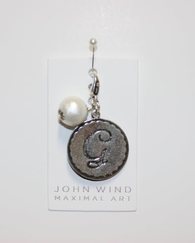 "John Wind: Sorority Gal and Pearl ""G"" Initial Silver Charm"