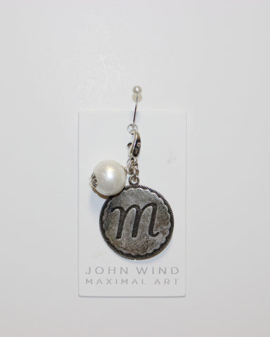 "John Wind: Sorority Gal and Pearl ""m"" Initial Silver Charm"