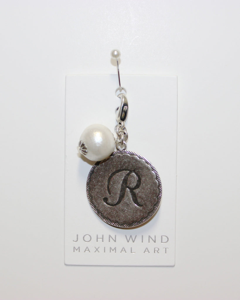 "John Wind: Sorority Gal and Pearl ""R"" Initial Silver Charm"