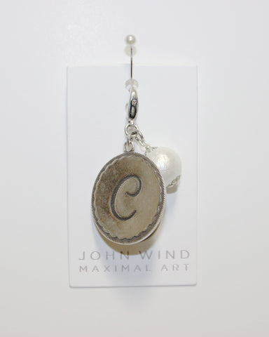 "John Wind: Sorority Gal and Pearl ""C"" Initial Silver Charm"
