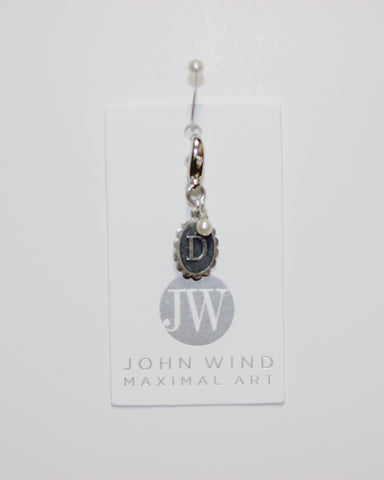 John Wind Charm! Oval Sterling Silver Initial D w/Pearl!