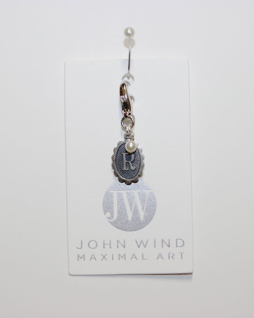 John Wind Charm! Oval Sterling Silver Initial R w/Pearl!