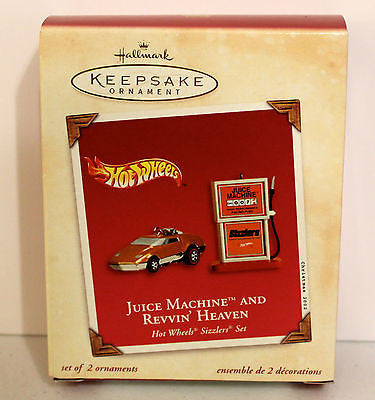 2002 Hallmark Keepsake Ornament! Hot Wheels Juice Machine and Revvin' Heaven!