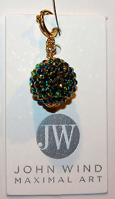 John Wind Wizard of Oz Charm! Emerald Green & Gold Glitter Ball!