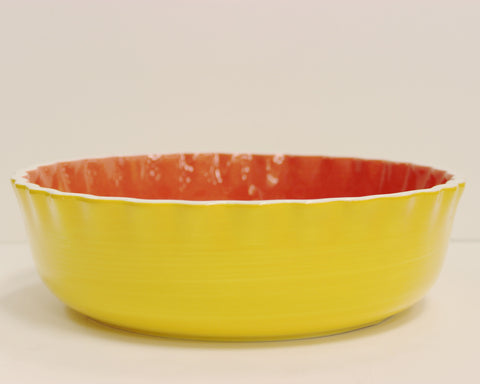 Coton Colors: Color Block Yellow Ruffle Serving Bowl