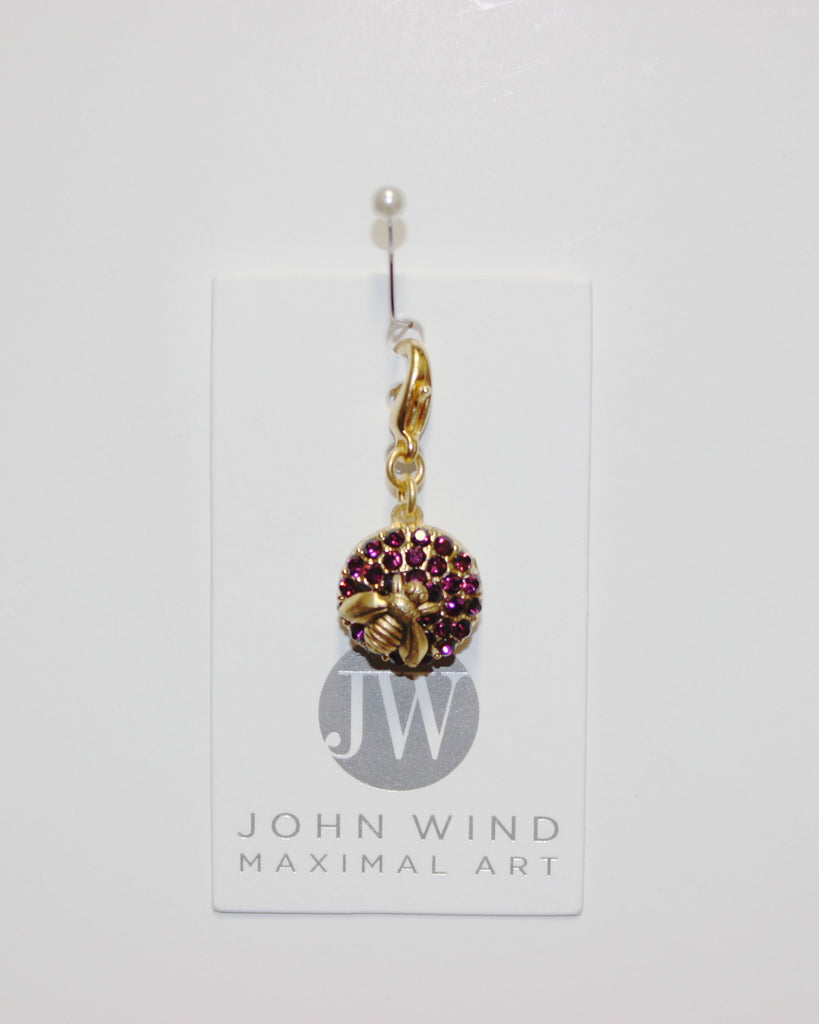 John Wind Charm: Gold Bee, Amethyst Stones! Queen Bee Charms!
