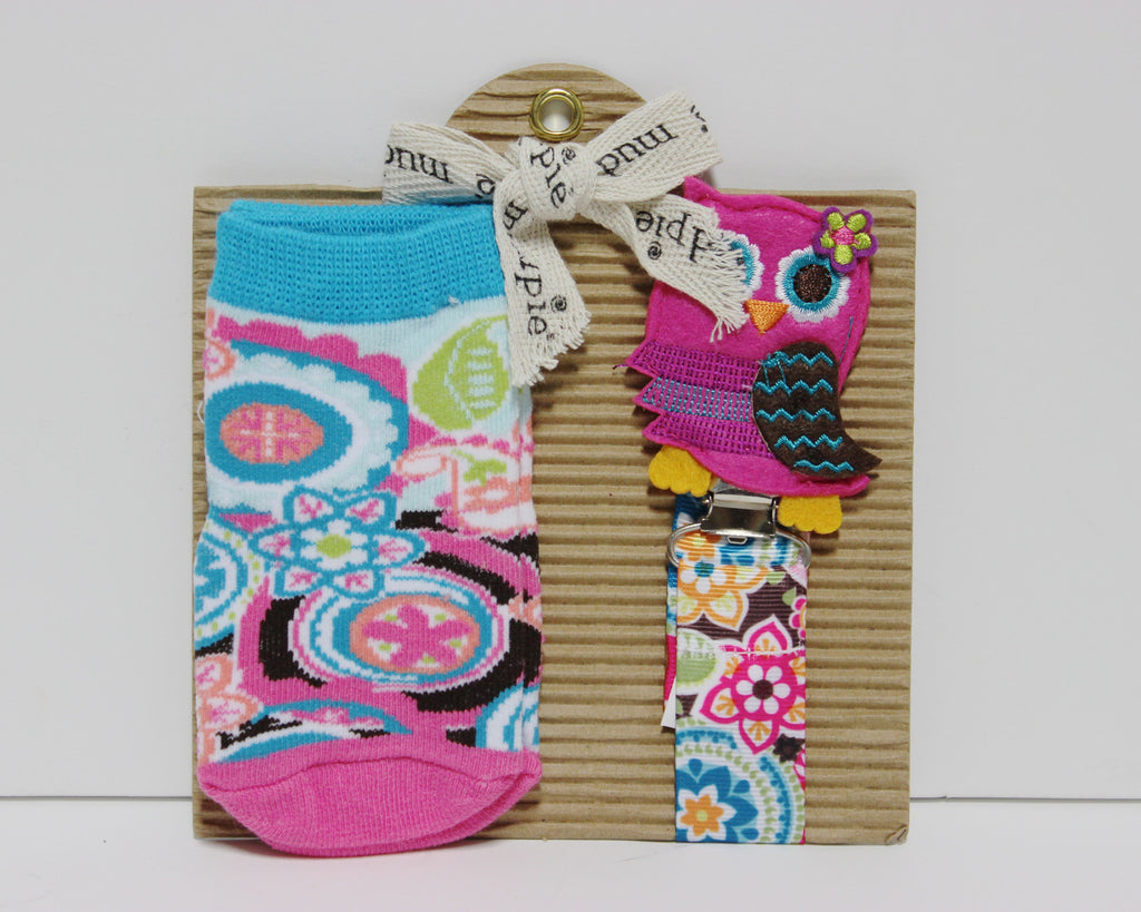 Mud Pie Baby Girl Owl Socks and Pacy Clip!