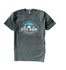 Gunmetal gray tshirt with Stic Bow Outdoor logo