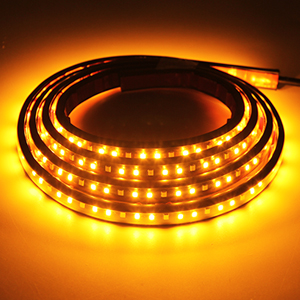 Car LED Running Board Lights Amber Side Marker Kit with White Courtesy Light Extended Crew Cab 2pc 48Inch 120 Led Underglow Bar Bed Light Strip