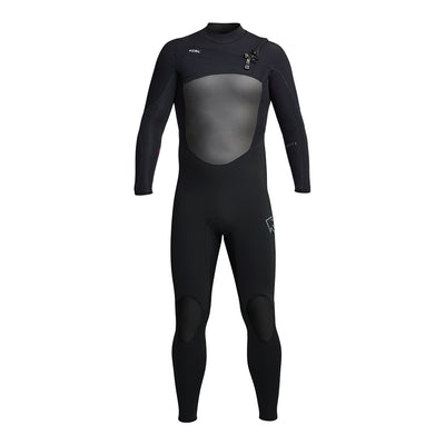 Mens full wetsuit all black front view