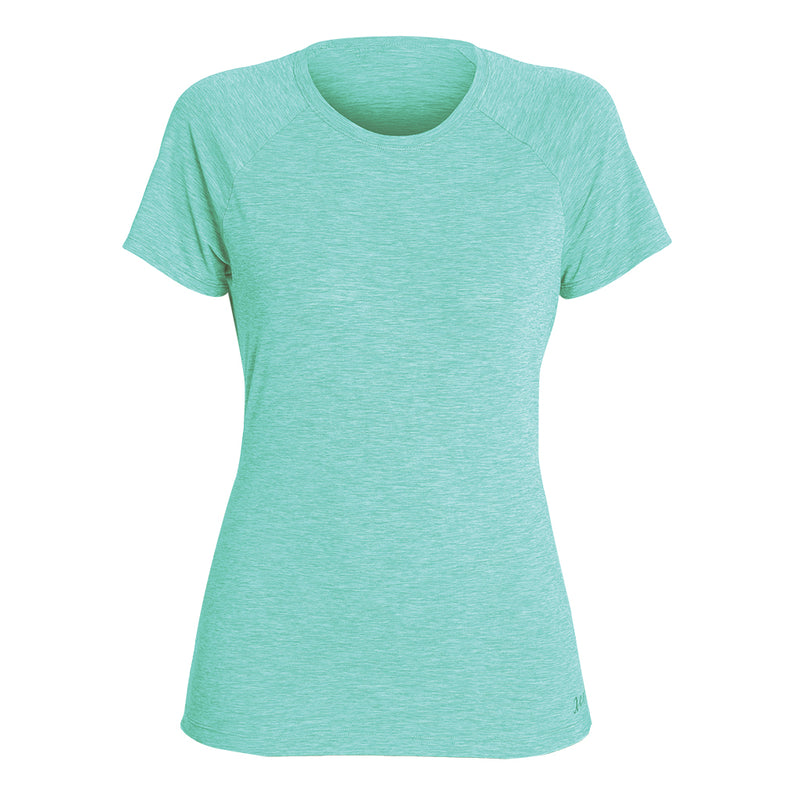 WOMENS HEATHERED VENTX SOLID SHORT SLEEVE UV SP20